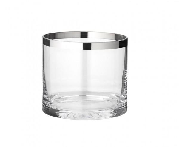 Windlicht Molly, mundgeblasenes Kristallglas mit Platinrand, Höhe 10 cm, Ø 11,5 cm