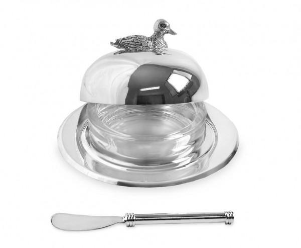Butterglocke Ente, Ø 14 cm, edel versilbert, mit passendem Buttermesser 18 cm