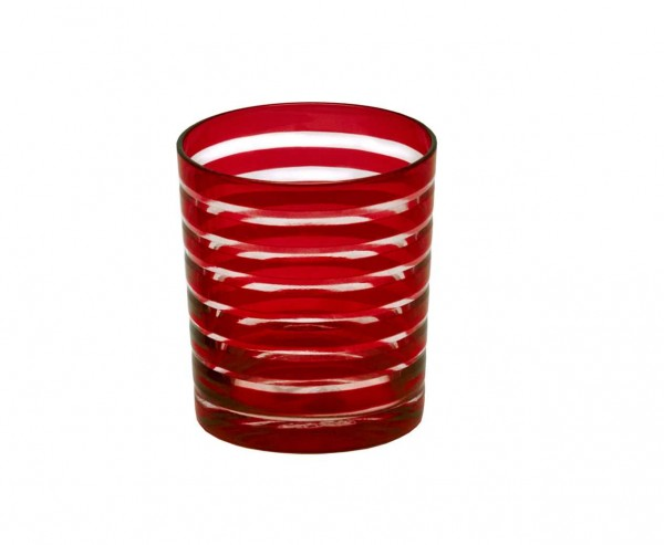 Kristallglas / Teelichthalter Nelson, rot, handgeschliffenes Glas , Höhe 9 cm, Füllmenge 0,25 Liter