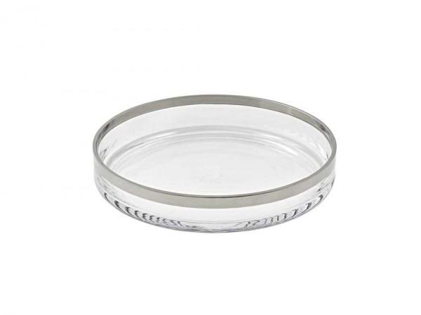 Glasschale Dekoschale Kerzenteller Light, mundgeblasenes Kristallglas mit Platinrand, ø 25 cm