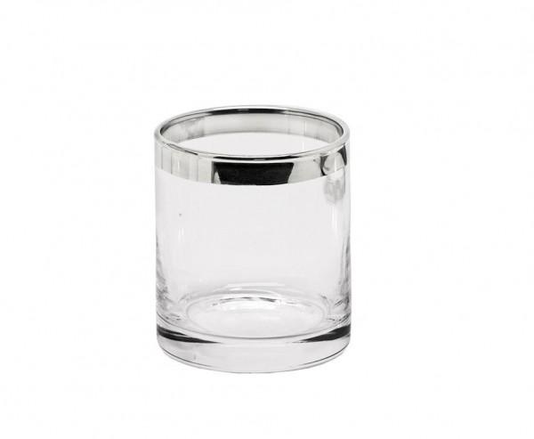 Windlicht Molly, mundgeblasenes Kristallglas mit Platinrand, Höhe 8 cm, Ø 7 cm