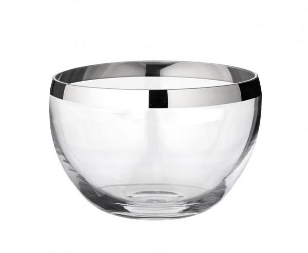 Schale Dekoschale Ella, mundgeblasenes Kristallglas mit Platinrand, Ø 26 cm