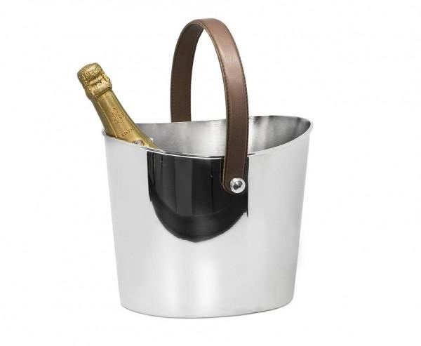 Eiseimer Gilbert Weinkühler mit braunem Ledergriff, Edelstahl glänzend vernickelt, Höhe 23 cm