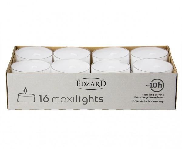 16 Stück WENZEL Maxilights Maxi-Teelichter, weiß, transparente Kunststoffhülle, ø 58 mm, ohne Duft